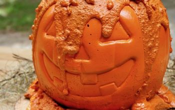 how to make a creepy concrete pumpkin