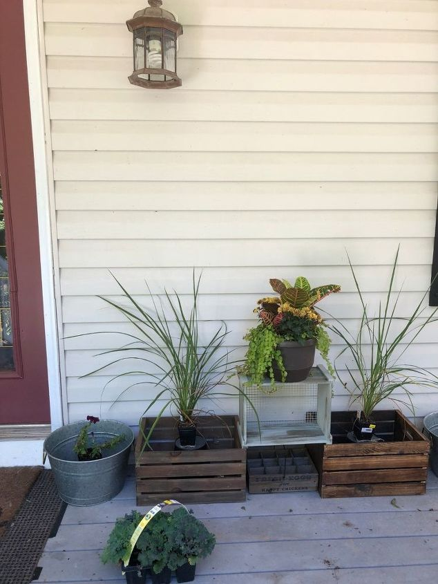 wooden crates as fall planters front door porch refresh