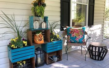 Wooden Crates as Fall Planters - Front Door / Porch Refresh