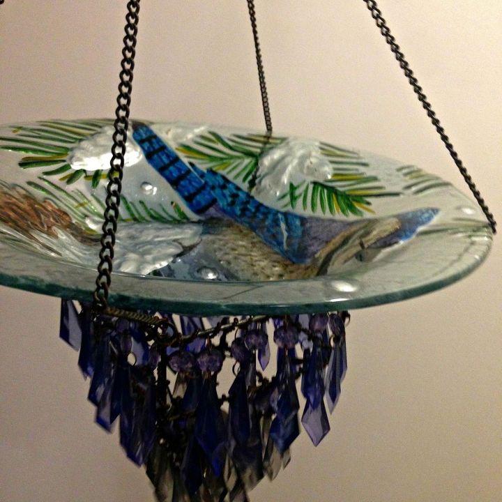 diy up cycled blue jay bird feeder or bird bath