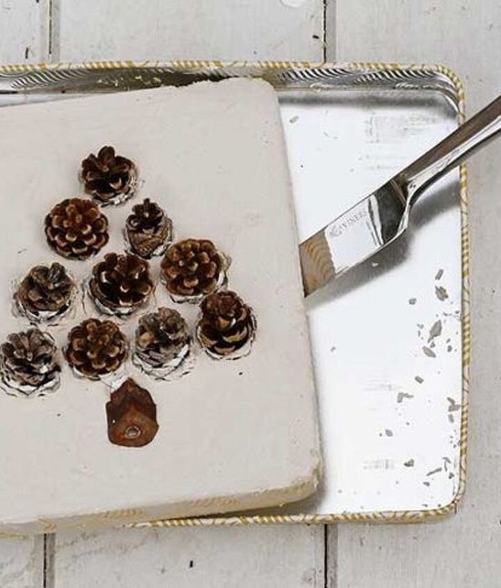 cute diy pinecone christmas tiles