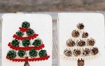 cute diy pinecone christmas tiles