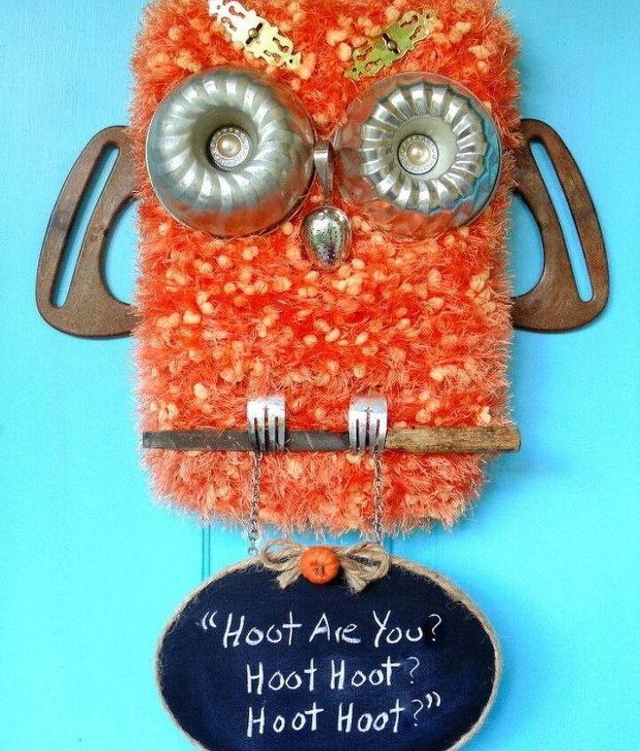 repurposed kitchen stuff owl door decor