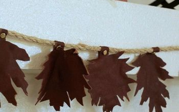 a leaf garland made from a leather jacket