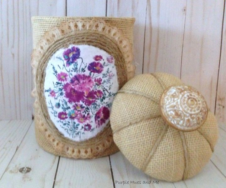 burlap lace and twine altered can