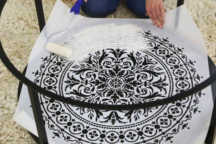 how to stencil a mandala side table in under an hour