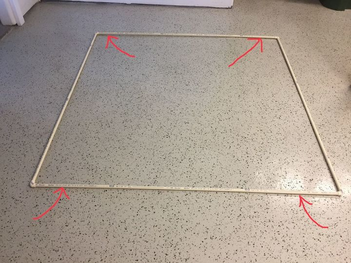 Completed frame and location of holes
