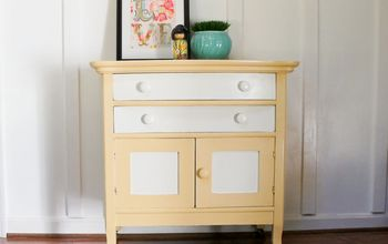 two tone painted washstand makeover