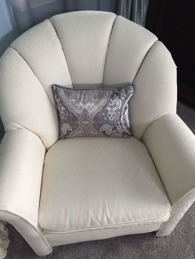Before picture of the creamy white chair