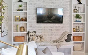 diy faux brick accent wall tutorial with whitewash