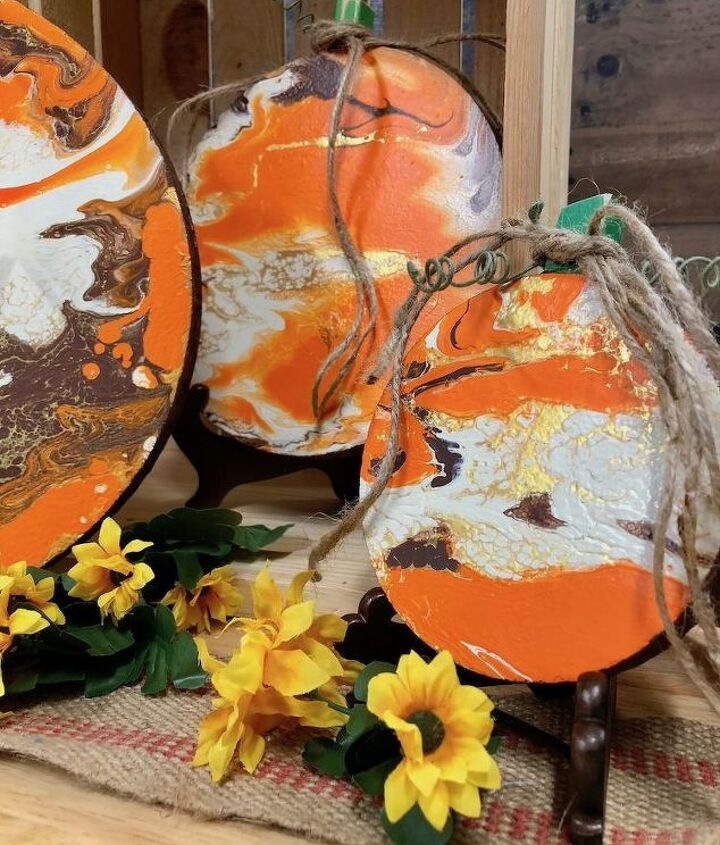 fall decor with paint pouring