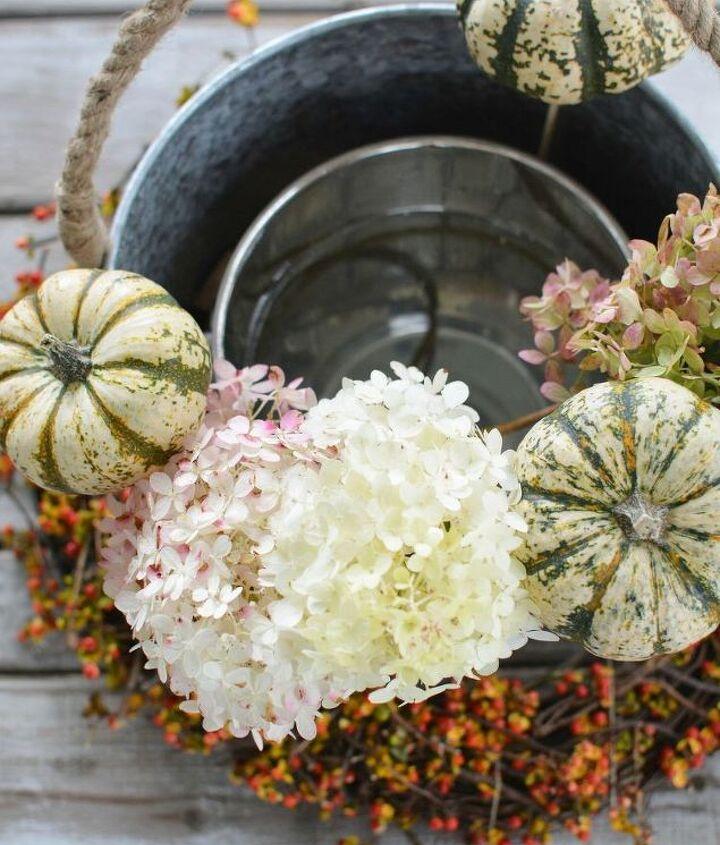 harvest centerpiece with pumpkins