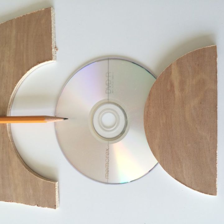 wooden pumpkins using a cd as a mold