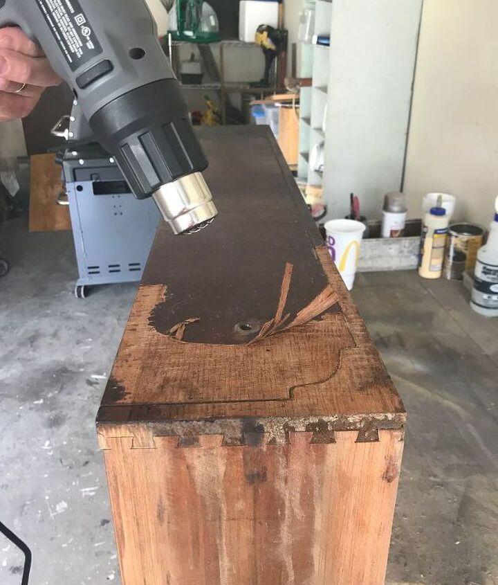 antique dresser makeover see how i removed veneer