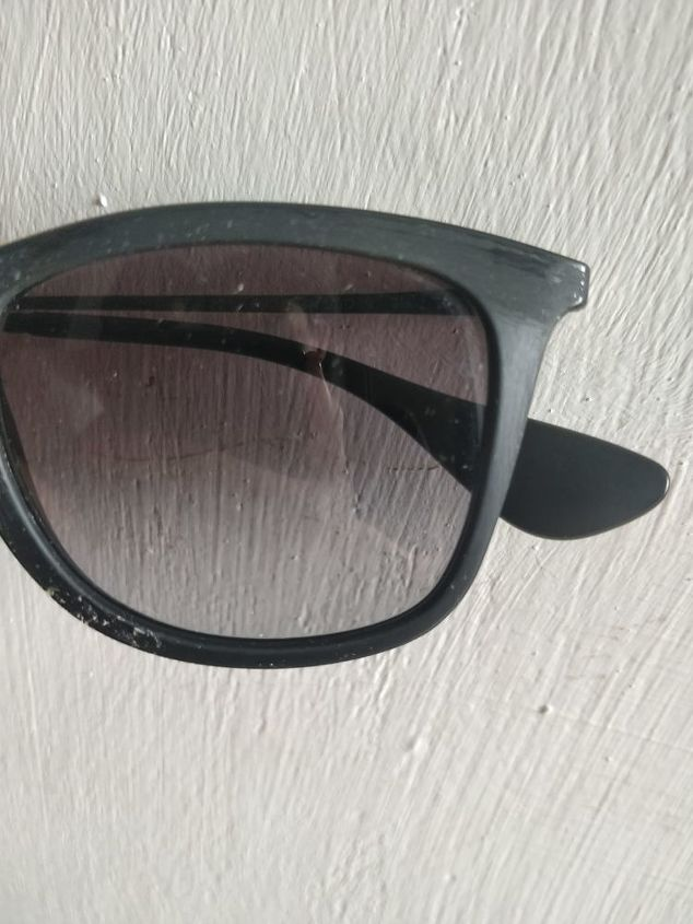 q how to clean a sticky layer from sunglasses frame
