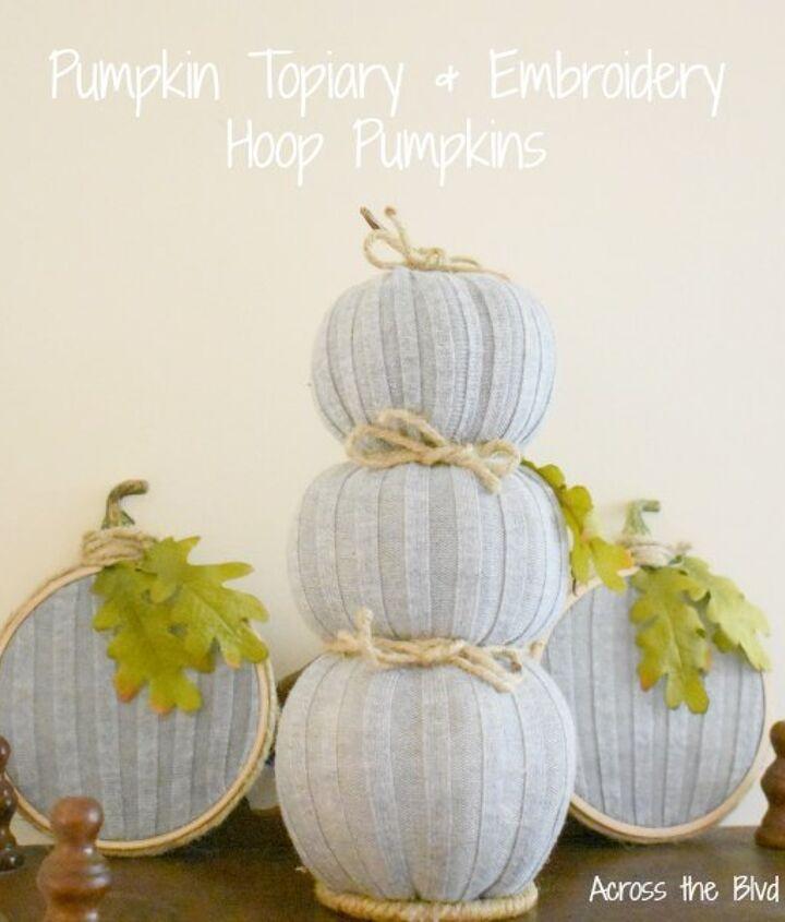 pumpkin topiary embroidery hoop pumpkins