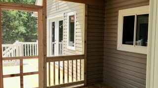 We Used A Behr Exterior Paint And Primer Product It Preformed Well Did Beautiful Job On Our Screen Porch Leave The Floor Stained Wood Tone