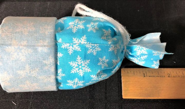 fabric hat ornament made from a ribbon spool
