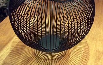 black wired basket lamp