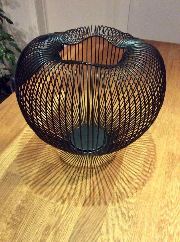 black wired basket lamp