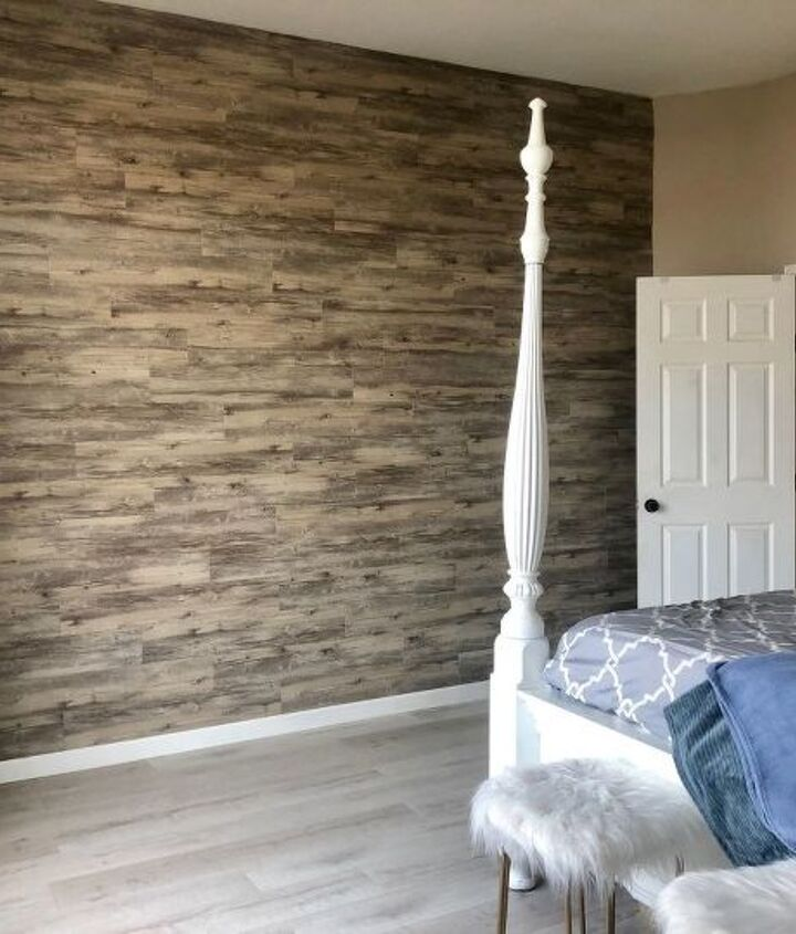master bedroom peel and stick vinyl plank accent wall