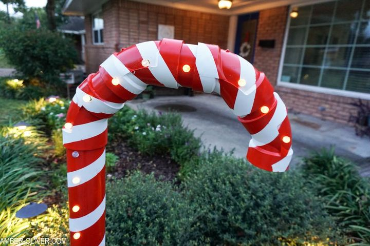 holiday yard decor from pvc pipe how to make a huge candy cane - Candy Cane Christmas Yard Decorations