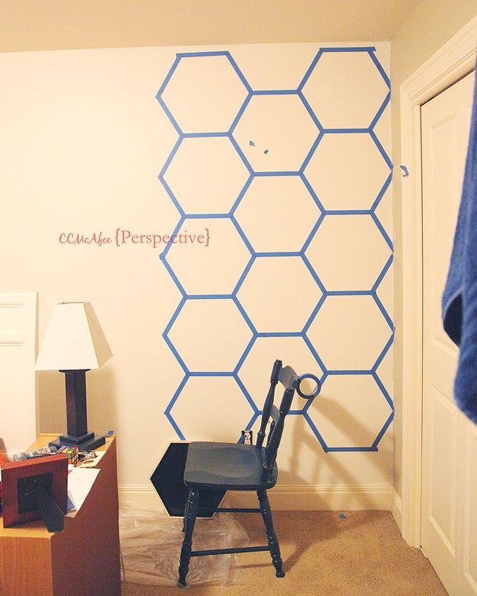 hexagon wall tween boy room focal wall