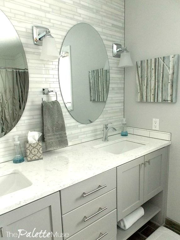 s 6 unexpected bathroom makeover ideas, Marble Mosaic Backsplash