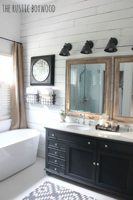 s 6 unexpected bathroom makeover ideas, Black and Wood Accents on a White Wall