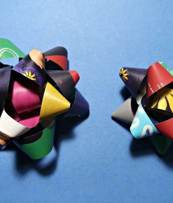 how to make colourful recycled gift bows