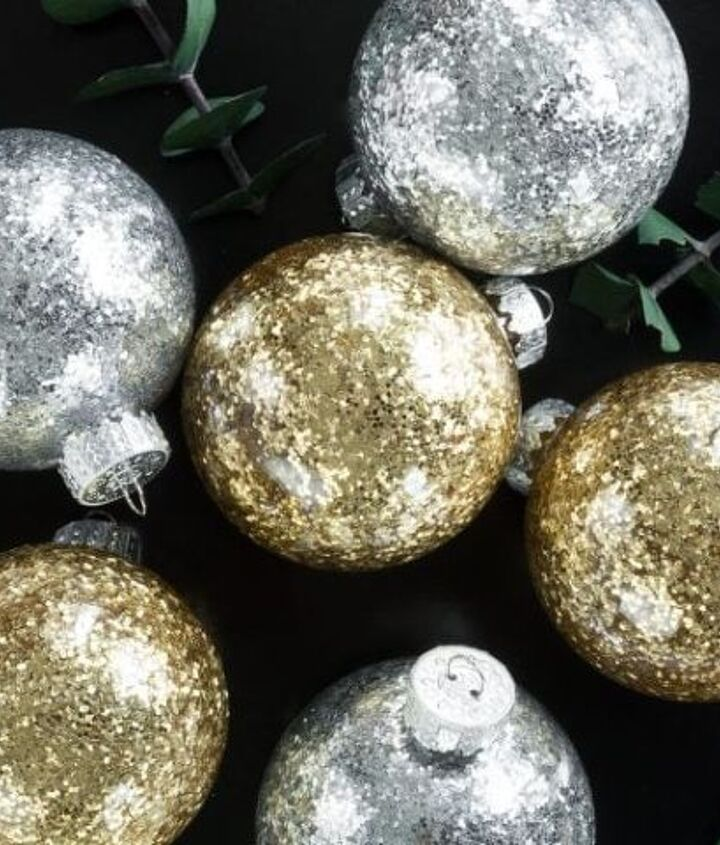 almost no mess diy glitter christmas ornaments