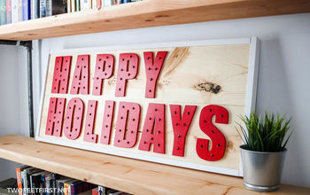 DIY Happy Holiday Wood Sign With Lights