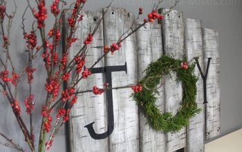 birch tree joy sign with holiday juniper wreath