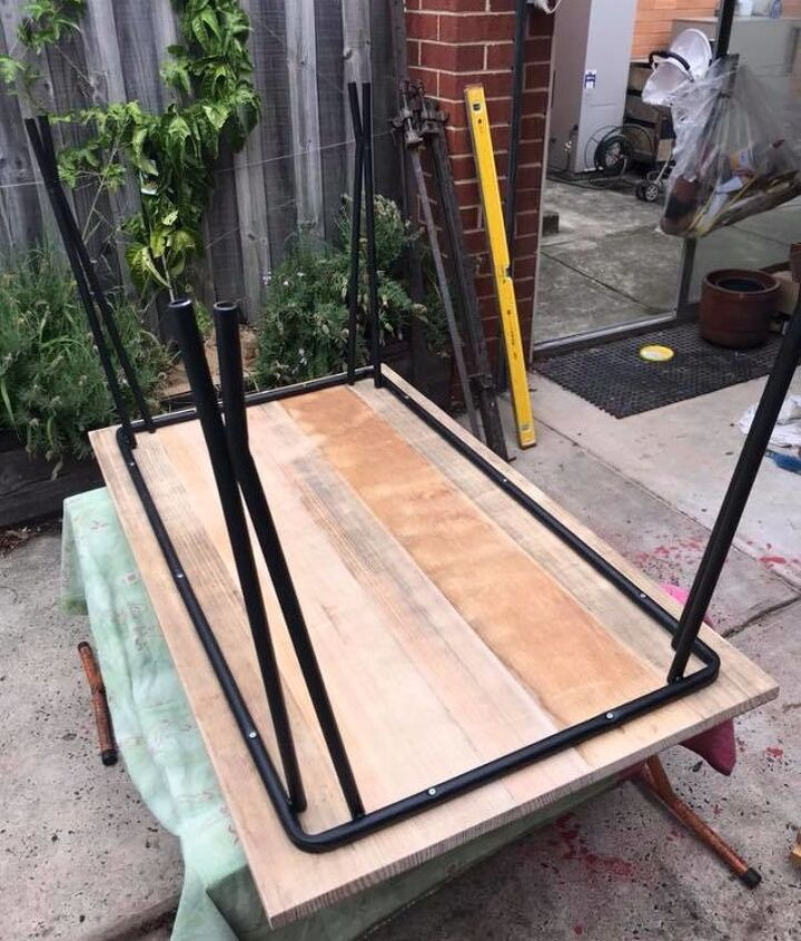 salvaged table frame and reclaimed hardwood