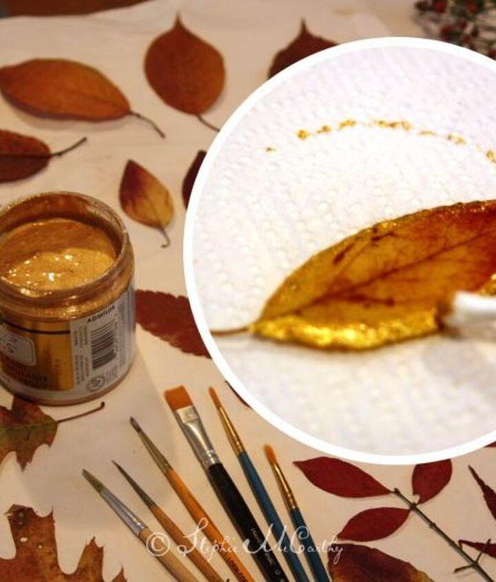 Embellish leaves before waxing.