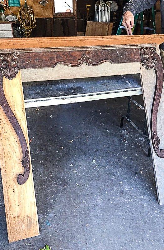make a beautiful mantel from a piece of a dresser