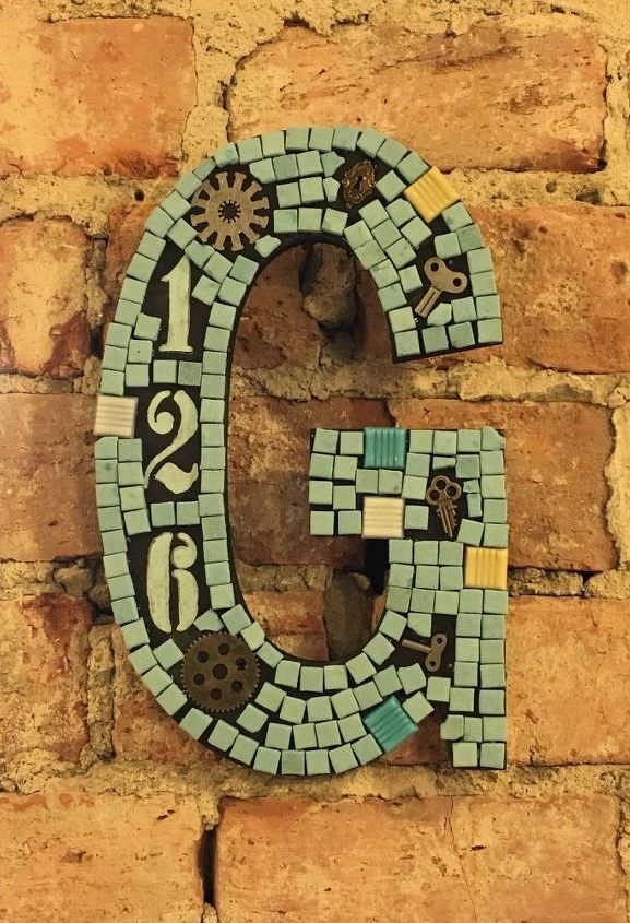 s adorable address plaques to dress up your doors, Make it a fun mosaic art
