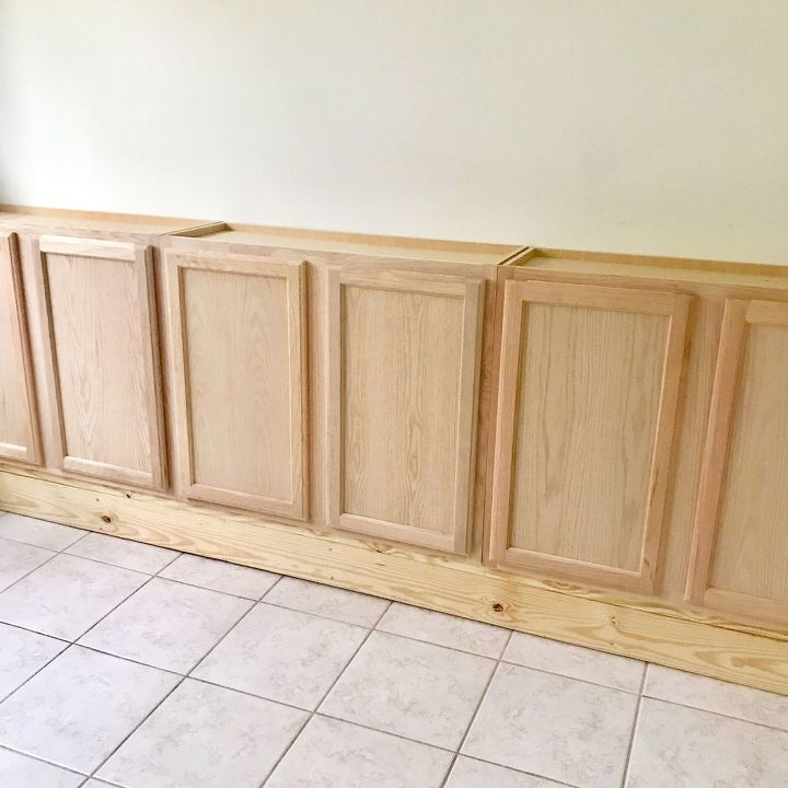 built in wall cabinet using stock kitchen cabinets
