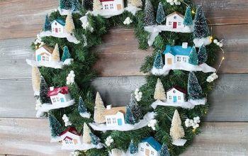 DIY Christmas Village Wreath