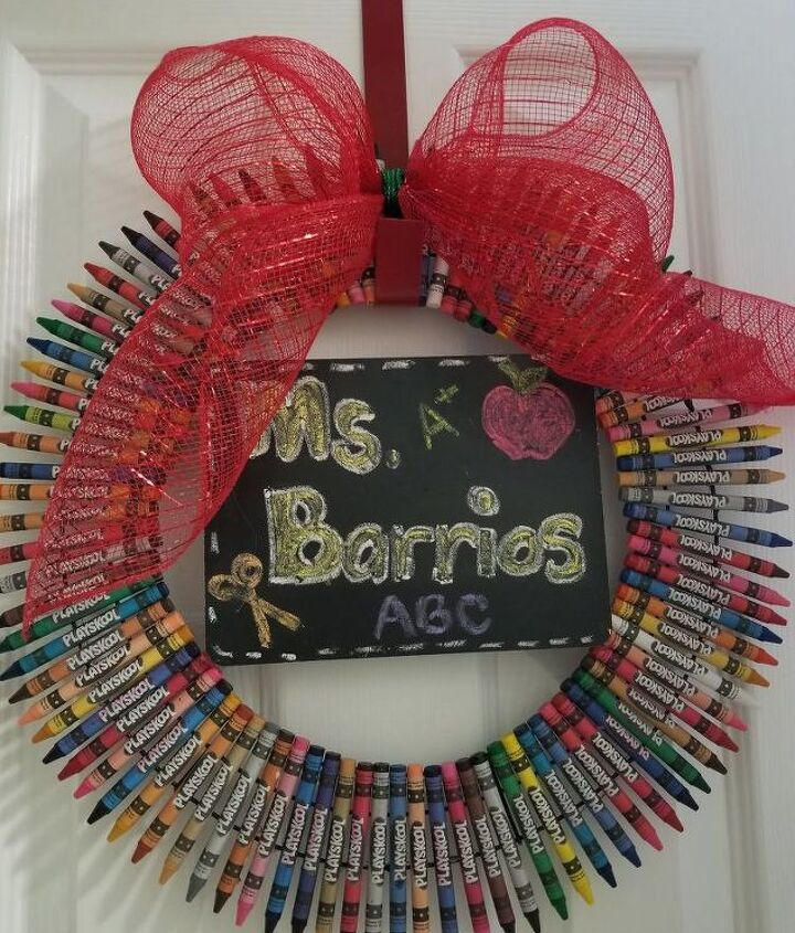 teacher wreath with a little x mas touch