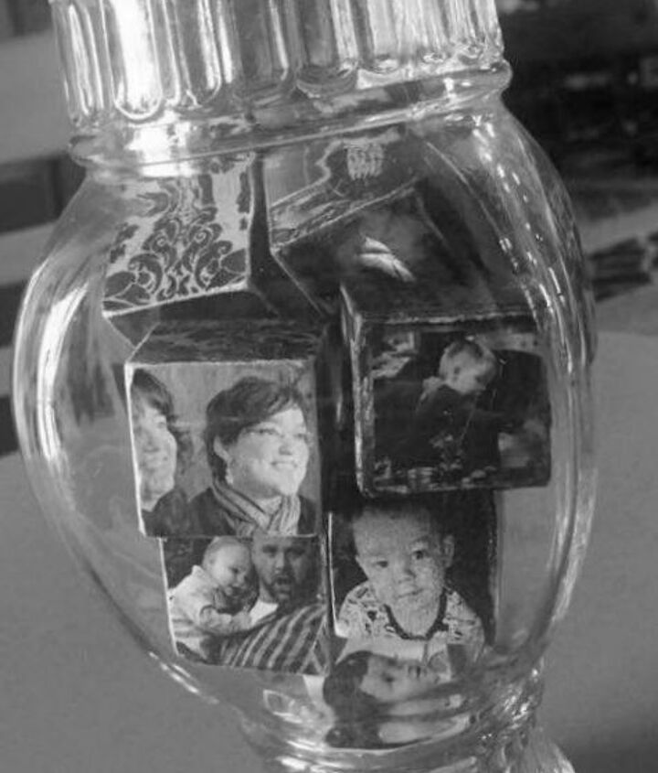 diy family photo blocks in a jar for personalized gifts