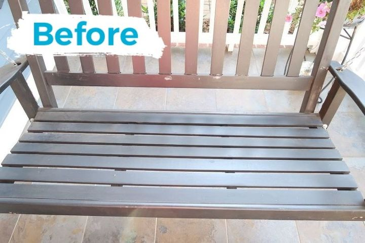 porch swing update upholsterd seat