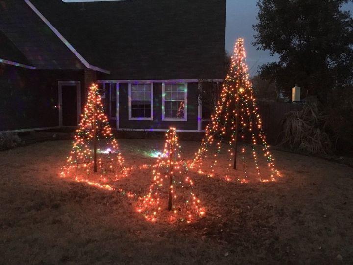 christmas yards easy light trees