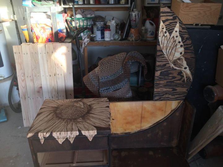 butterfly sunflower designed vanity makover