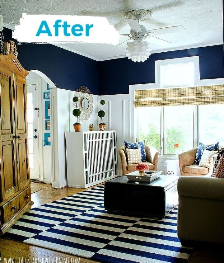 board batten navy and white living room