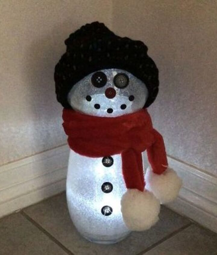 thrift store upcycle to glittery snowman