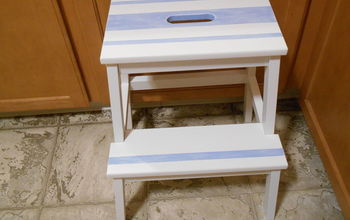 DIY Dry Brush Blanket Striped Ikea Step Stool