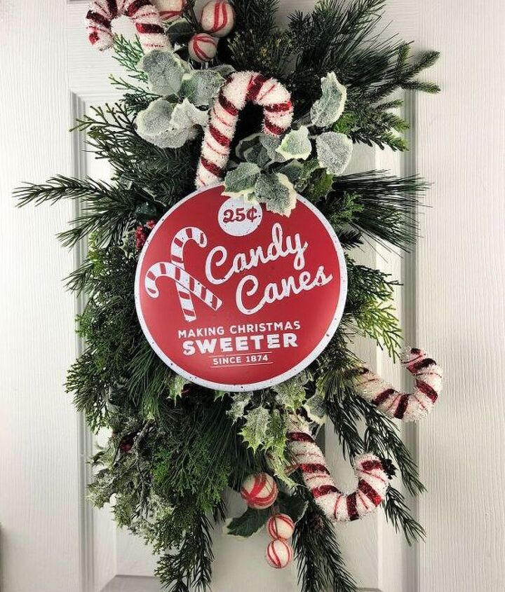 make a candy cane christmas swag