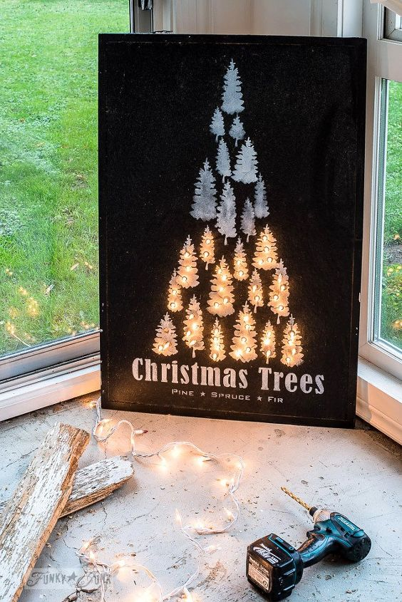 from a plain bulletin board to an illuminated christmas miracle