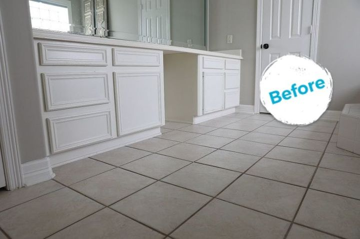 s how to paint a faux tile floor